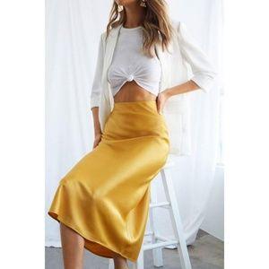 NWT Gold Satin Midi Skirt